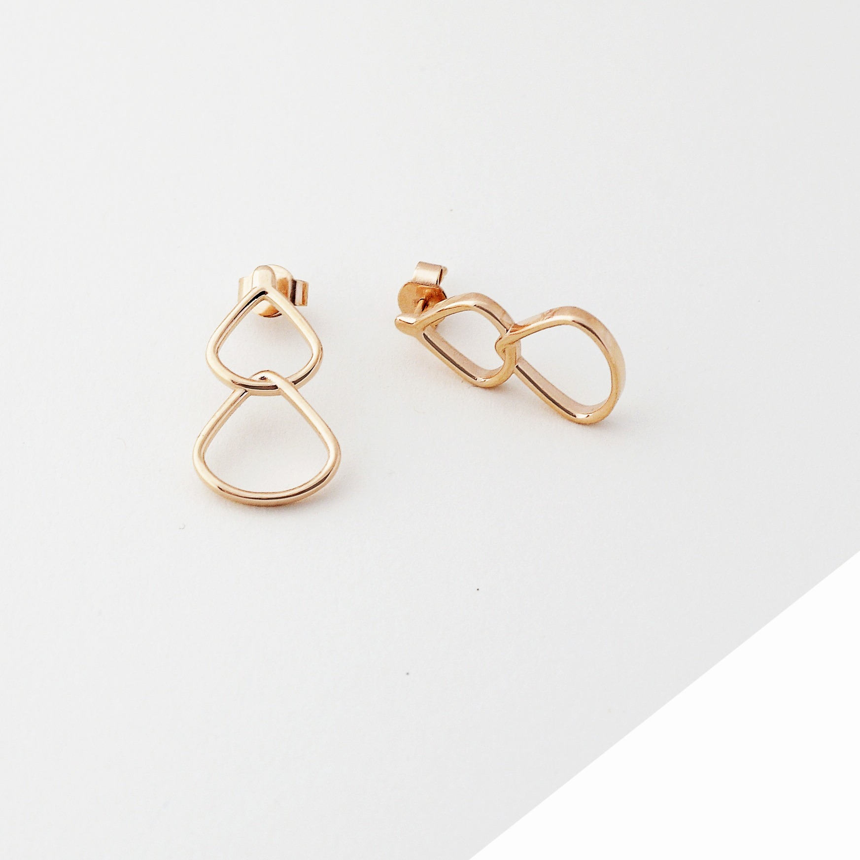 Rose Gold Drop Stud Earrings