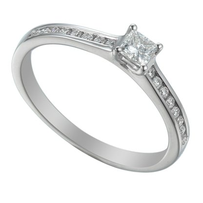 18ct while gold solitaire engagement ring with princess cut centre stone flanked by channel set brilliant diamond shoulders