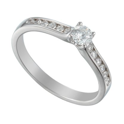18ct while gold solitaire engagement ring with brilliant cut centre stone flanked by channel set brilliant diamond shoulders
