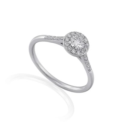 18ct white gold diamond halo engagement ring with pave set brilliant diamond shoulders
