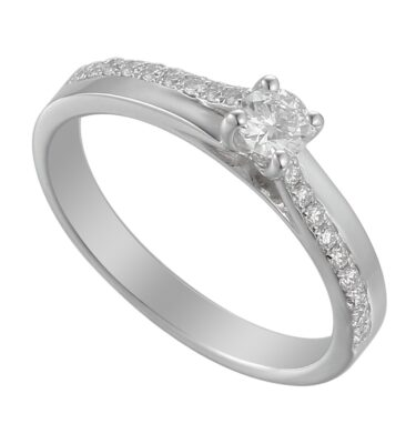 18ct white gold cross-over diamond solitaire engagement ring with edge set diamond shoulders