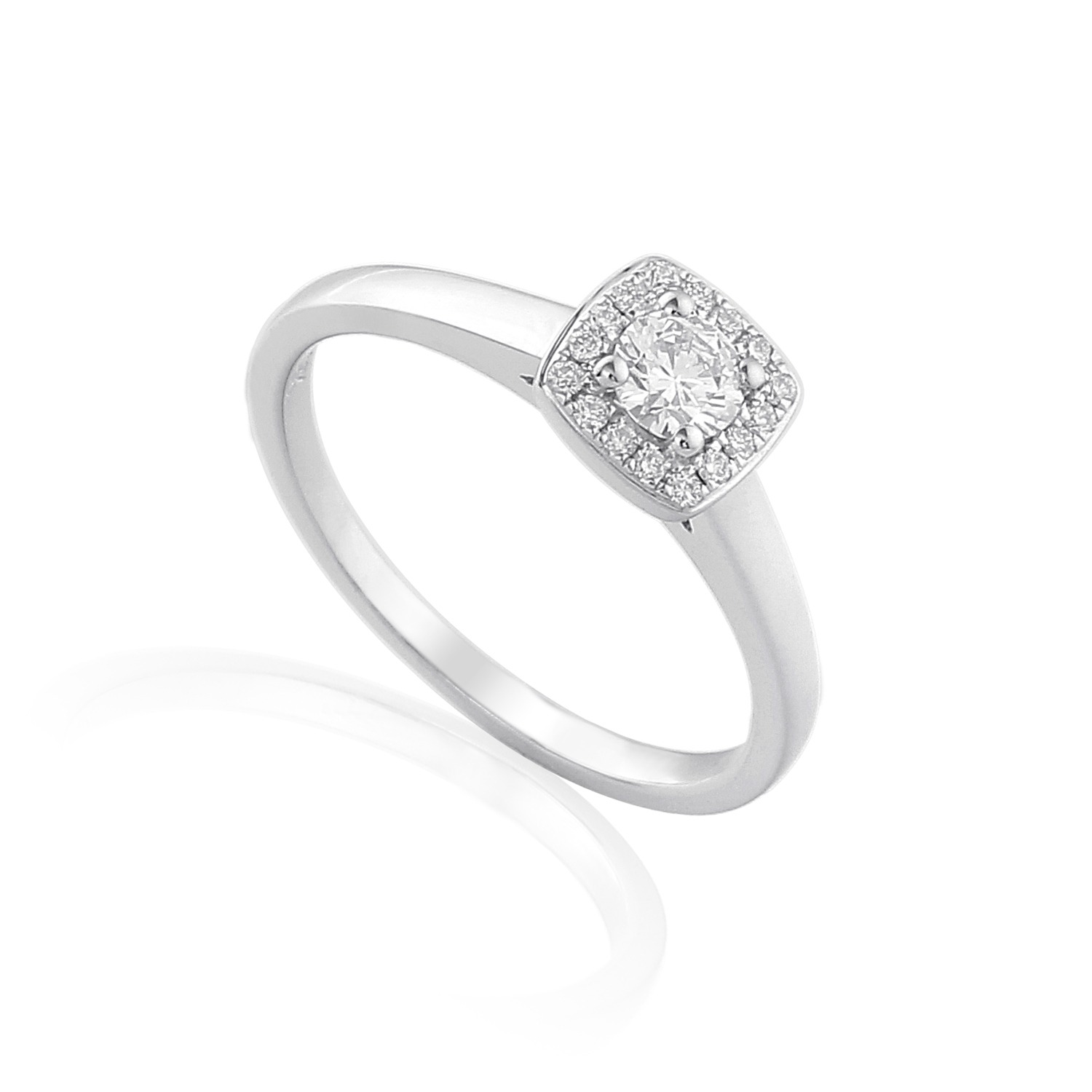 platinum or 18ct white gold halo diamond engagement ring