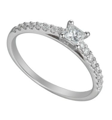 18ct white gold solitaire engagement ring featuring princess cut centre diamond and brilliant cut diamond shoulders
