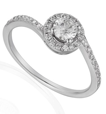Rionore 18ct white gold round halo engagement ring