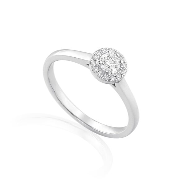 18ct white gold diamond halo engagement ring