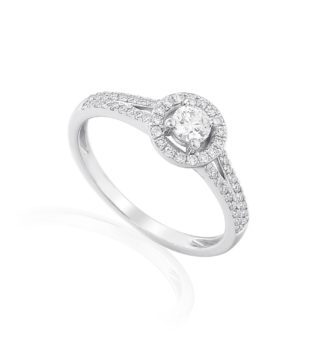18ct white gold halo engagement ring, featuring brilliant cut centre stone and pave set diamond double shoulders.