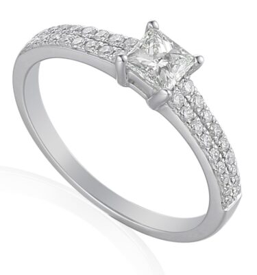 18ct white gold stolitaire engagement ring featuring princess cut diamond centre stone flanked by pave set diamond shoulders