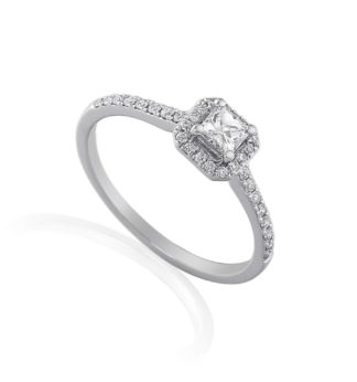 18ct white gold engagement ring with princess cut center diamond and pave set diamond halo and shoulders