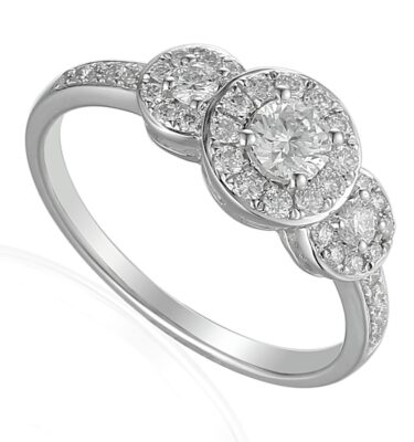 18ct white gold engagement ring featuring 3 diamond halos and pave set diamond shoulders
