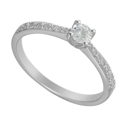 18ct white gold elegant diamond solitaire ring featuring brilliant cut centre stone and pave set shoulders