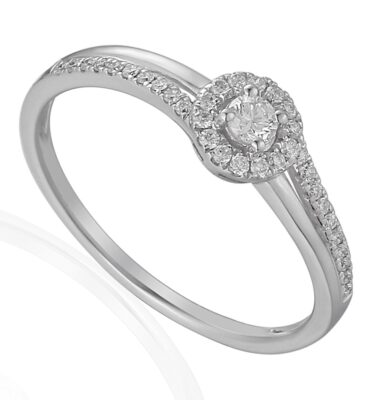 18ct white gold halo engagement ring featuring brilliant cut diamond halo, split shank and offset diamond shoulders