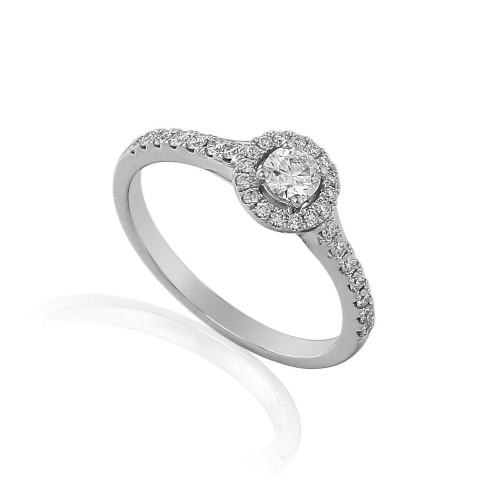 18ct white gold halo engagement ring pave set with brilliant cut diamonds