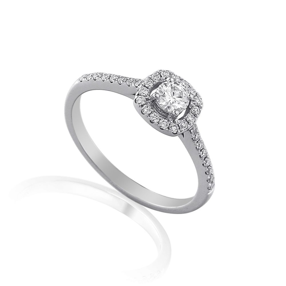 18ct white gold halo diamond engagement ring, with pave set brilliant cut diamond halo and shoulders