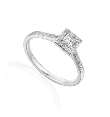 Princess cut diamond halo engagement ring in 18ct white gold