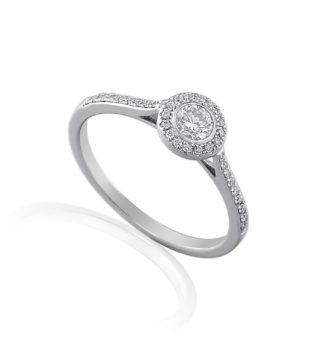 18ct white gold halo engagement ring featuring bezel set centre diamond surrounded by pave set diamond halo and shoulders