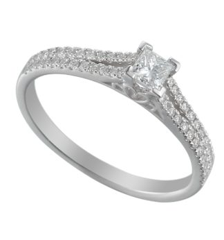 18ct while gold solitaire engagement ring with princess cut centre stone flanked by pave set brilliant diamond double shoulders