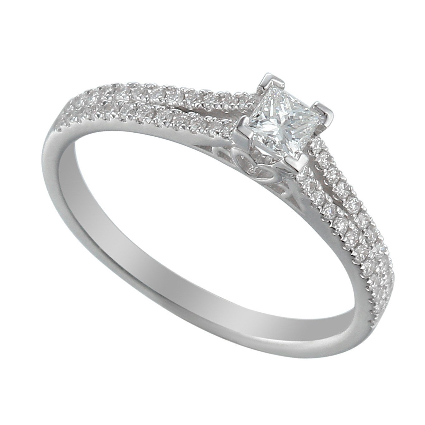 incess cut solitaire diamond engagement ring