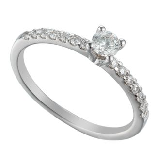 Platinum solitaire engagement ring featuring round cut diamond centre stone flankled by brilliant cut diamond shoulders