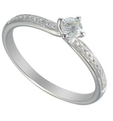18ct white gold feminine diamond solitaire engagement ring with claw se brilliant cut centre stone and pave set shoulders
