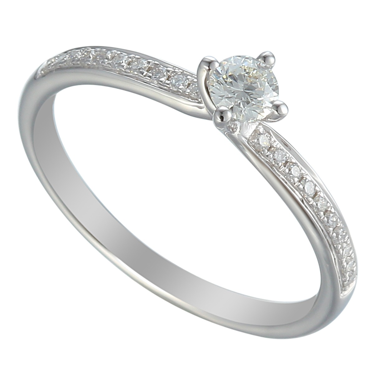 feminine diamond solitaire engagement ring