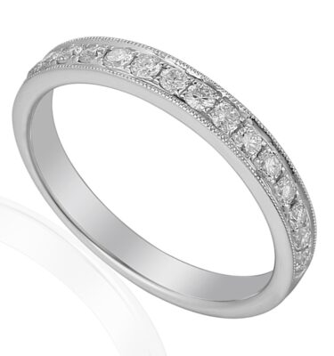 18ct white gold millegrain detailed eternity band, pave set with brilliant cut diamonds
