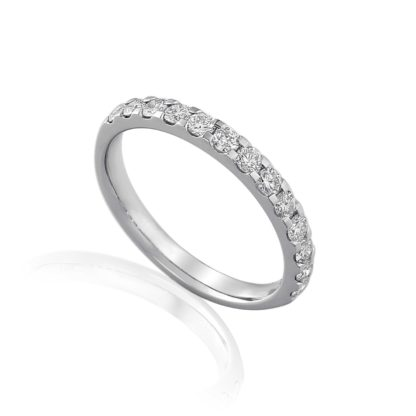 18ct white gold pave set diamond Eternity ring featuring brilliant cut diamonds finished with a scalloped edge