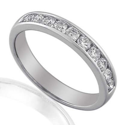 18ct white gold eternity band featuring channel set brilliant cut diamonds.