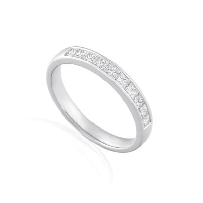 18ct white gold eternity band featuring channel set princess cut diamonds.
