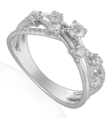 18ct white gold waterfall ring featuring brilliant cut claw set diamonds