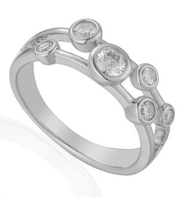 18ct white gold waterfall ring, bezel set with brilliant cut diamonds