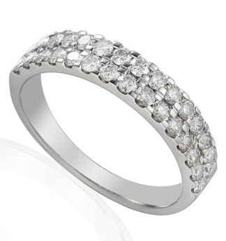 18ct white gold eternity ring featuring double rows of pave set diamonds