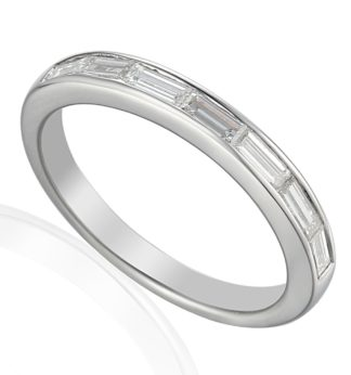 18ct white gold eternity band channel set with baguette cut diamonds