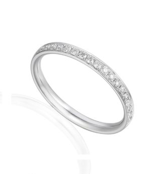 18ct white gold wedding band pave set with brilliant cut diamonds