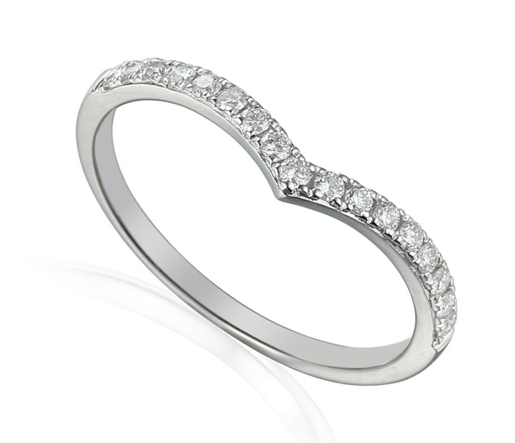 18ct white gold v-shaped wedding ring pave set with brilliant cut diamonds