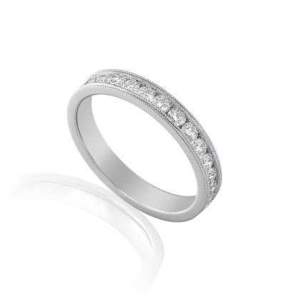 18ct white gold millegrain detailed eternity band channel set with brillian cut diamonds