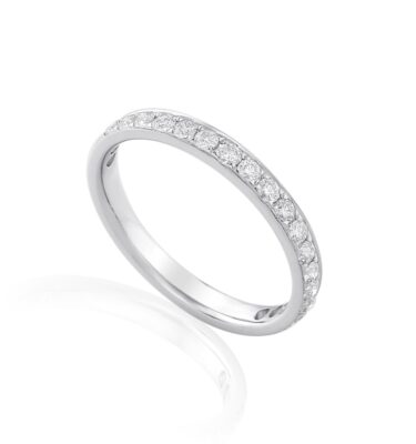 18ct white gold wedding ring pave set with brilliant cut diamonds
