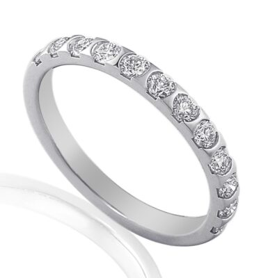 18ct white gold scalloped edge wedding band pave set with brilliant cut diamonds