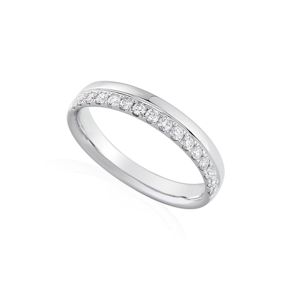 18ct white gold off-centre wedding band pave set with brilliant diamonds