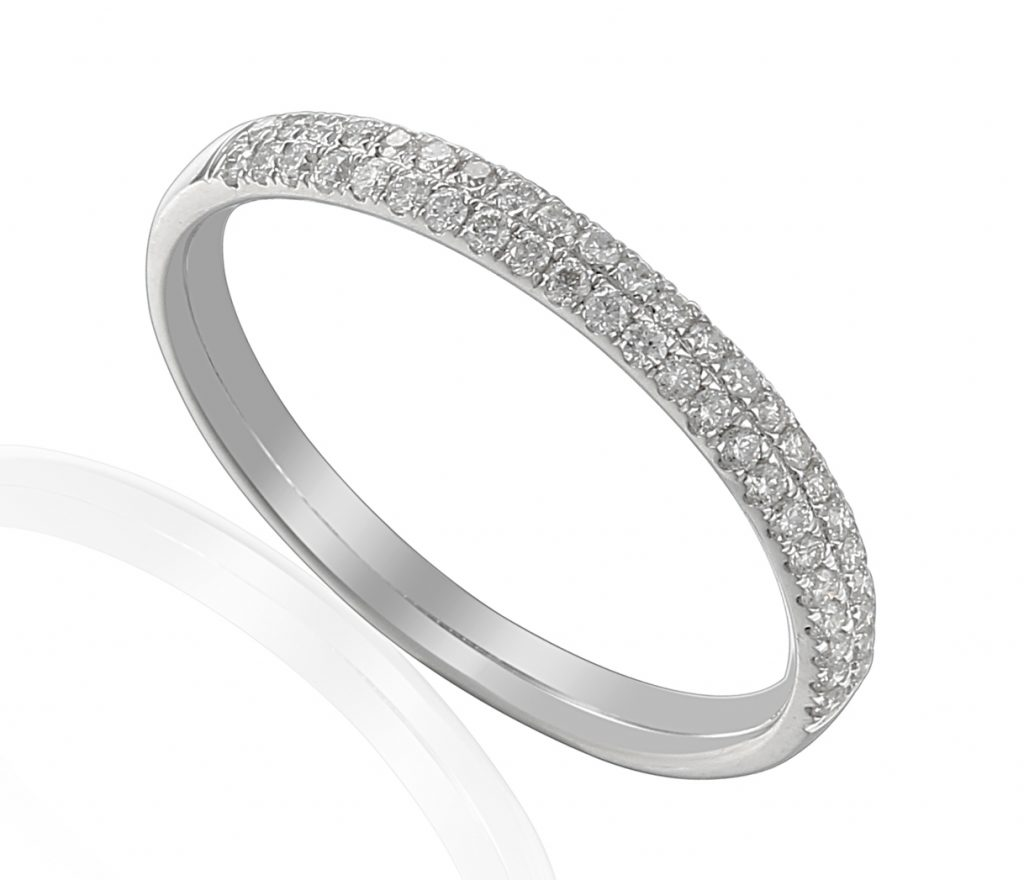 18ct white gold eternity band claw set with double rows of brilliant cut diamonds