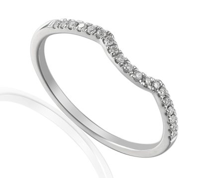 18ct white gold wedding band claw set with brillaint cut diamonds