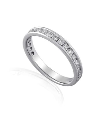 18ct white gold eternity band channel set with brilliant cut diamonds