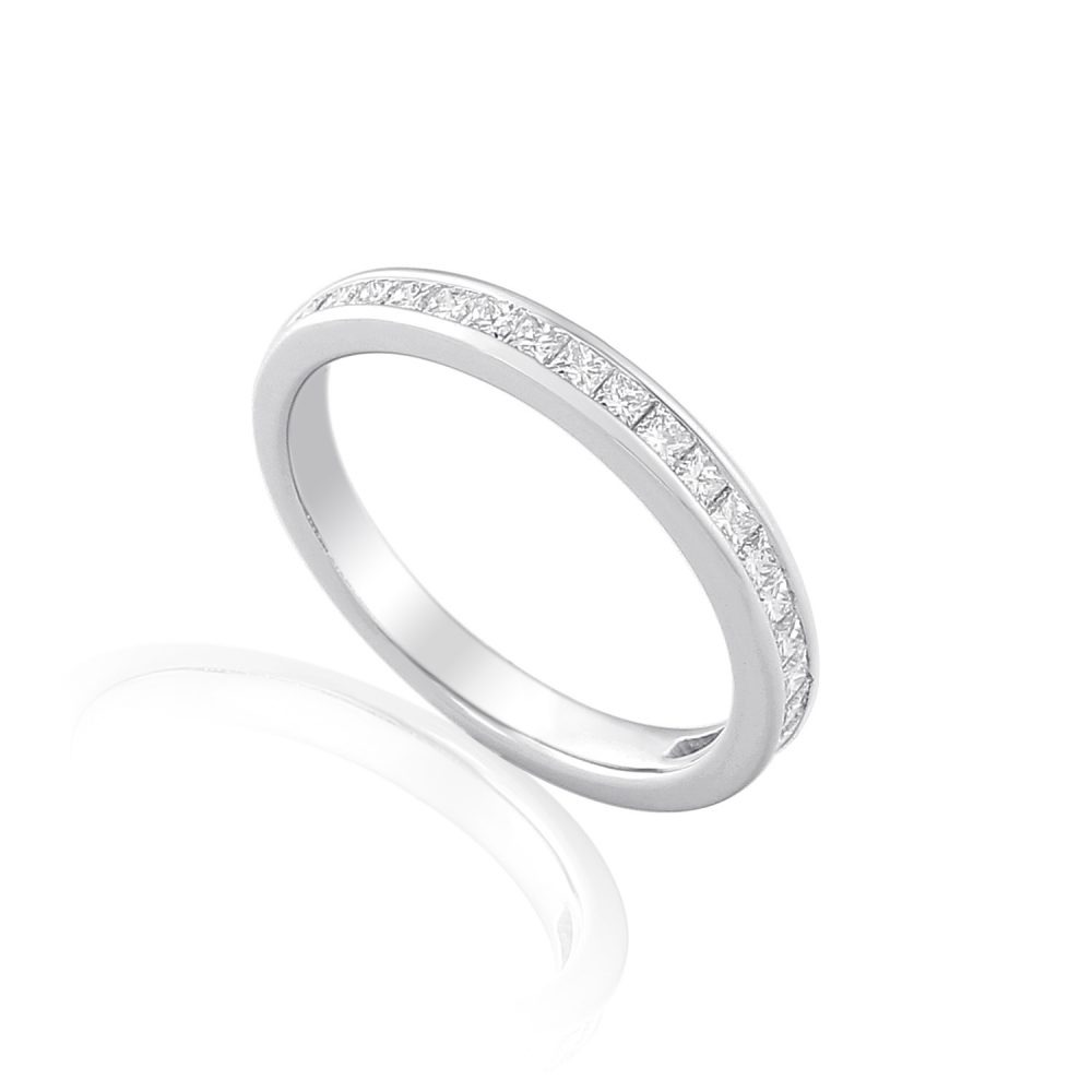 18ct white gold eternity ring channel set with princess cut diamonds