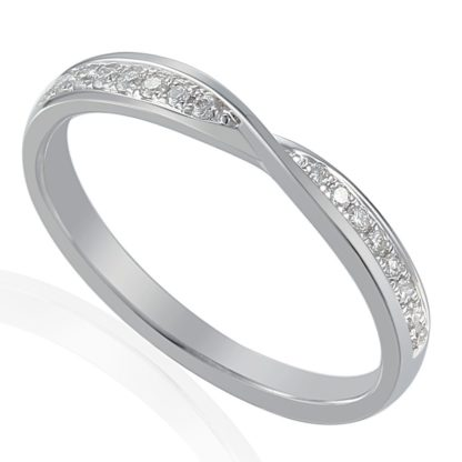 18ct white gold crossover eternity band channel set with brilliant cut diamonds