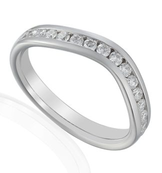 Soft V-shaped 18ct white gold eternity band channel set with brilliant cut diamonds