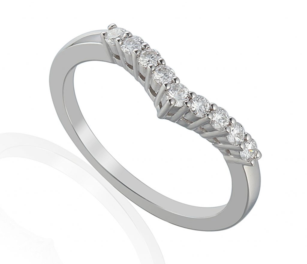 18ct white gold v-shaped wedding band claw set with 9 brilliant cut diamonds