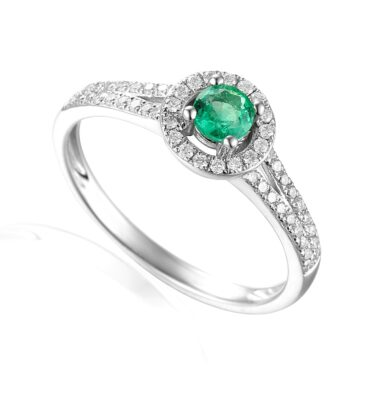 Designer platinum brilliant-cut emerald and diamond halo engagement ring