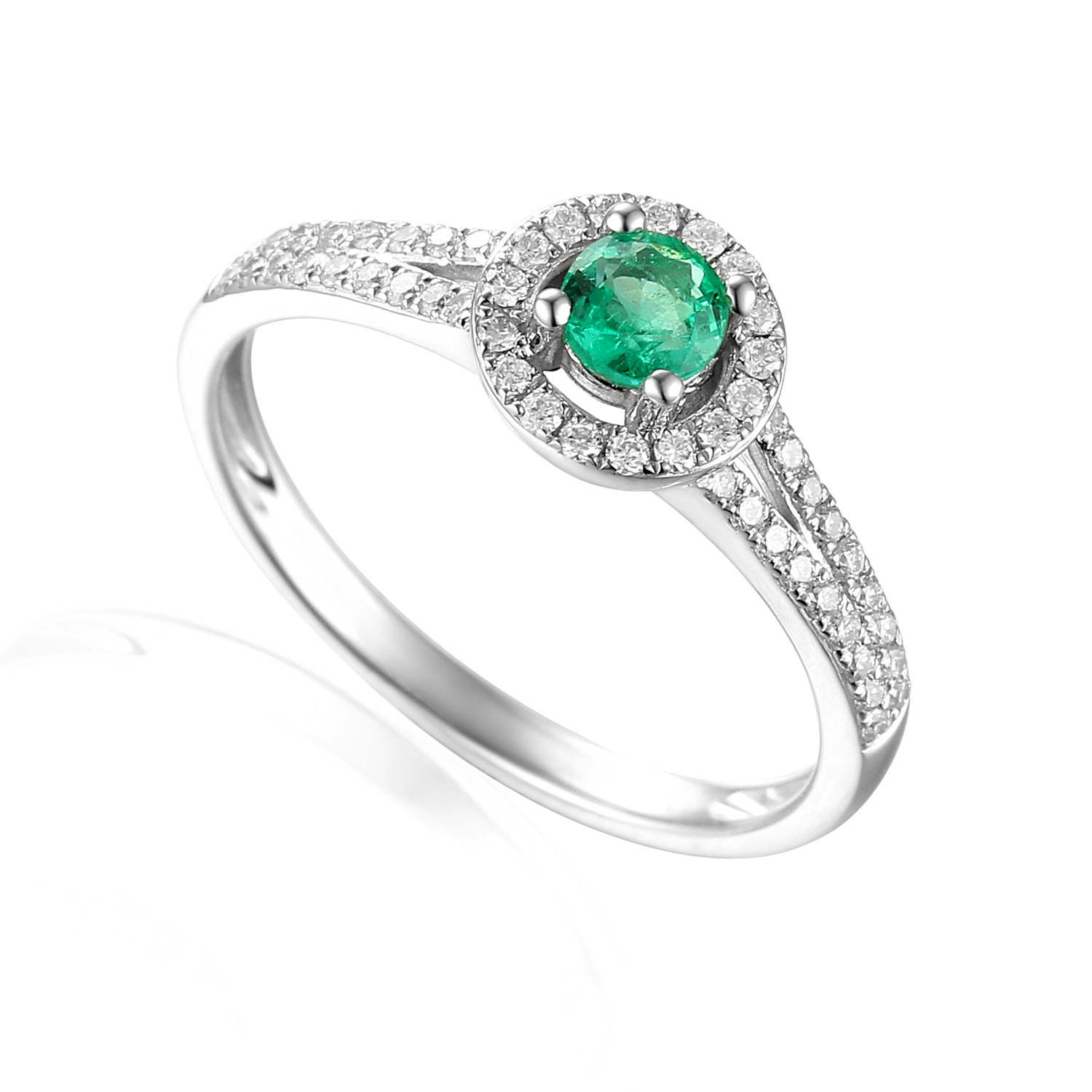 platinum emerald diamond engagement ring