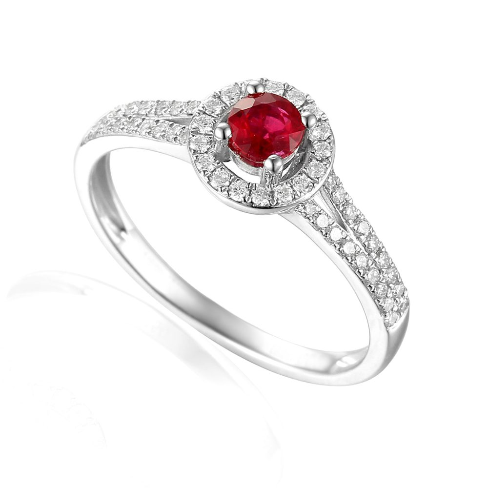 Designer 18ct white gold brilliant-cut ruby and diamond halo engagement ring
