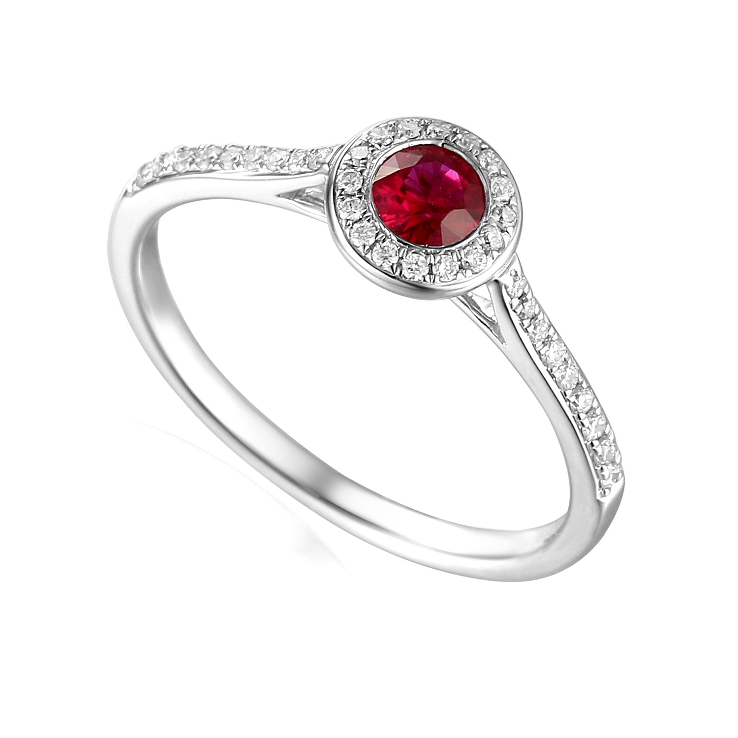 Designer platinum brilliant-cut ruby and diamond halo engagement ring