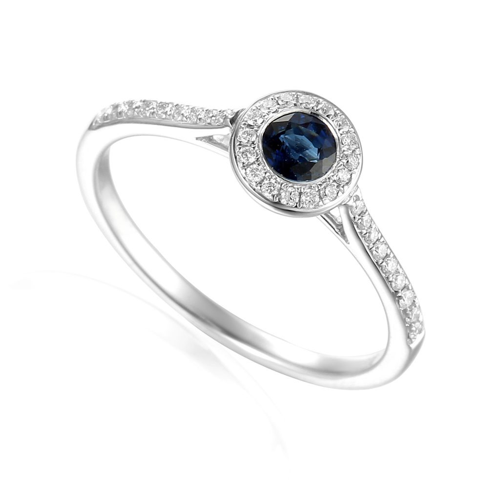 Designer 18ct white gold brilliant-cut sapphire and diamond halo engagement ring